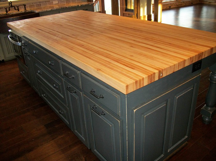 Borders Kitchen Solid American Hardwood Island With Butcher Block Top