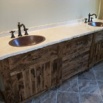 Borders Master Vanity - Rough Sawn Wood with Chiseled Edged Granite