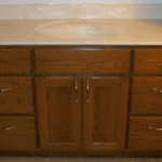 Custom Solid Oak Hardwood Vanity With Square Flat Panel Doors & Slab Drawer Fronts