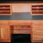 Solid Oak Hardwood Executive Desk with Riser
