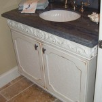 Distressed Painted Vanity with Granite Top and Inset Sink