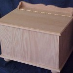 Solid Oak Hope Chest with Hinged Lid, Scrolled Back and Unfinished