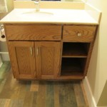 Manning Red Oak Vanity With Open Shelving