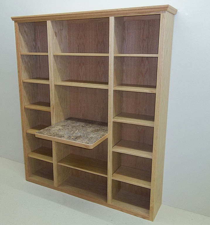 Solid Oak Bookcase With Computer Work Area