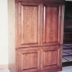 Solid Red Oak Armoire with Raised Panel Doors