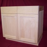 Solid Maple Vanity with Square Flat Panel Doors and Natural Finish