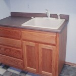 Utility Room Sink and Cabinets - Red Oak