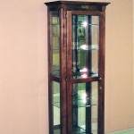 Solid Hardwood Curio with Glass Shelves and Mirrored Back