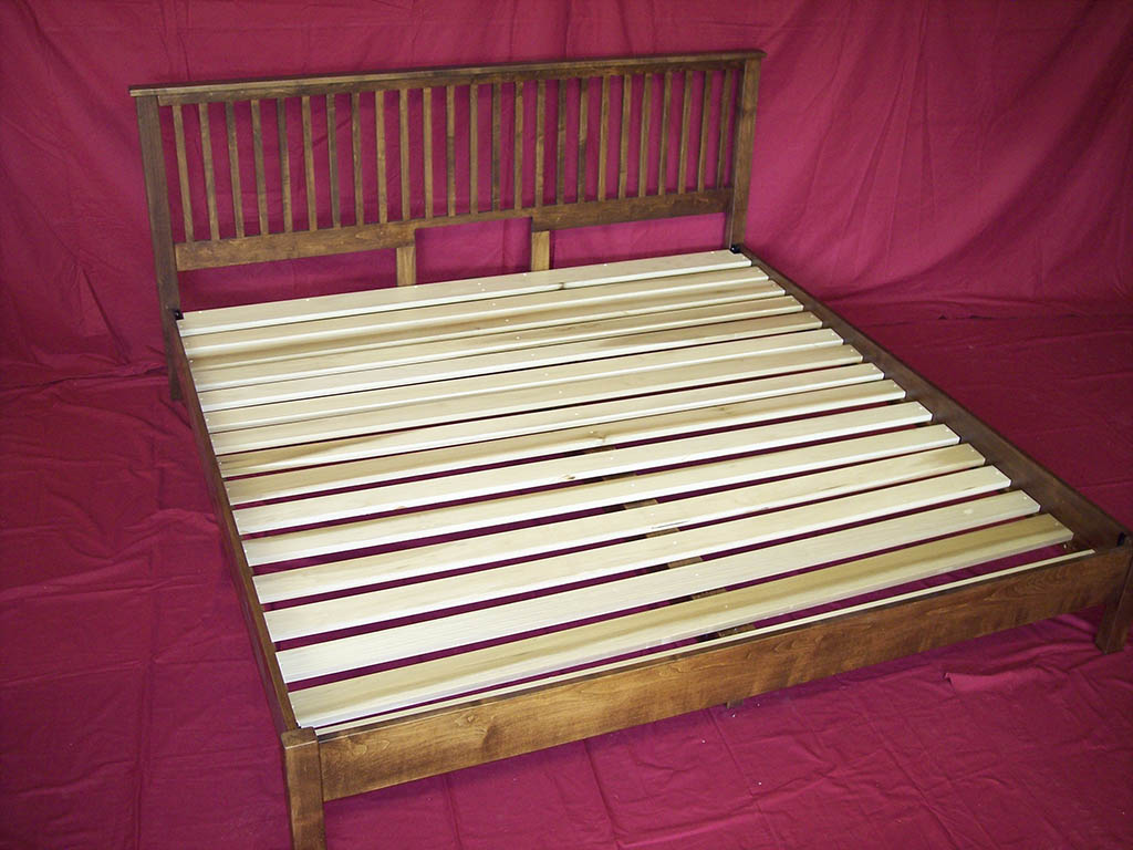 Solid Maple Bed With Poplar Slats & Spiced Walnut Stain . Full resolution‎  image, nominally Width 1024 Height 768 pixels, image with #77253B.