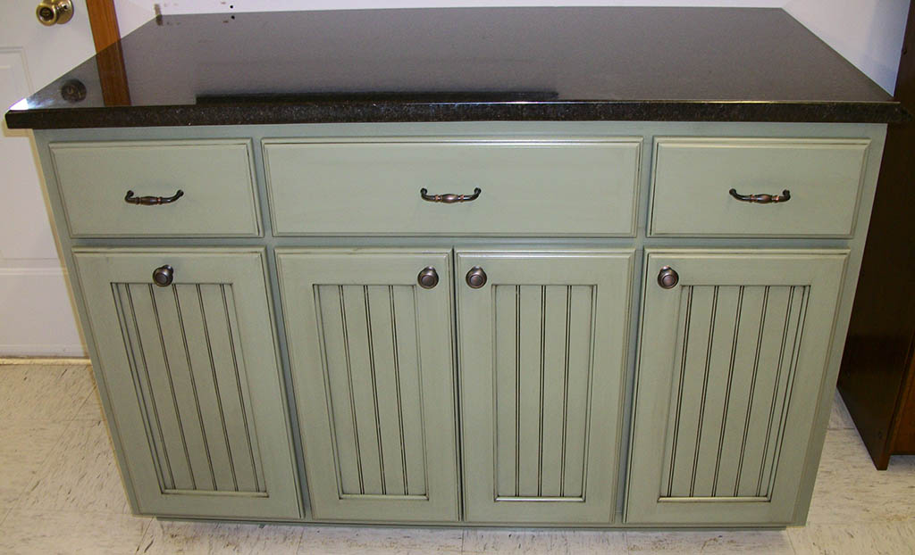 Hampton Vanity With Solid Granite Top And A Sage Finish