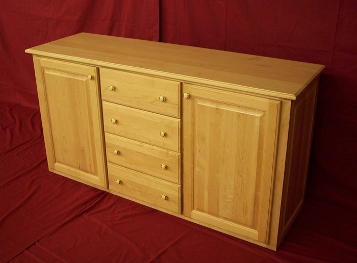 Solid Oak Raised Panel Door Dresser With Drawer Bank